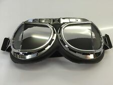 LEATHER CHROME Flying Goggles motorbike bike open top