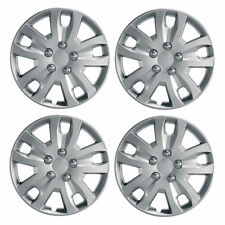"Gyro 15"" Car Wheel Trims Hub Caps Plastic Covers Set of 4 Silver Universal"