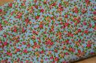 ITSY BITSY TINY FLORAL - BLUE - POLY COTTON FABRIC - PINK FLOWERS - *Free P&P*