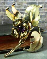 Vintage Harry Iskin 1/20 10K Gold Plate Purple Flower Bouquet Brooch/ Pin