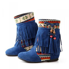 2015 Womens Bohemian Tassel Hidden Wedge Moccasin Mid Calf Boots Pull On Bootie
