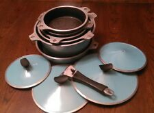 RETRO COOL VINTAGE CLUB TURQUOISE COOK WARE  6 POTS 1 HANDLE  well used