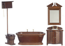 Dollhouse Miniature Victorian Bathroom Set Tub Sink Toilet Walnut 1:12 Scale