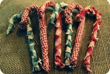 Set Of 6 Primitive Homespun Fabric Wrapped Candy Cane Ornaments