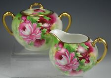 BEAUTIFUL LIMOGES HAND PAINTED ROSES CREAMER AND SUGAR SET