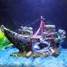 Fish Tank Decor Aquarium Ornament Wreck Sailing Boat Sunk Ship Destroyer Cave