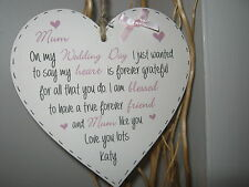 Handmade 15cm Heart Wall Plaque Mother of The Bride Gift Personalised