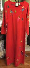 Michael Simon Lite Long Sleeve Small Red Christmas Reindeer comfy dress s