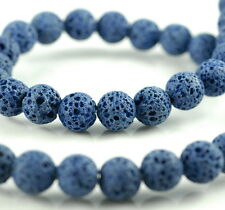 10MM DARK BLUE VOLCANIC BASALTIC LAVA GEMSTONE ROUND 10MM LOOSE BEADS 16""