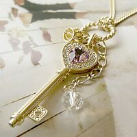 2014 Silver Golden Crown Heart Key Pendant Amethyst Crystal Charm Long Necklace