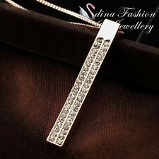 18K Rose Gold Plated Simulated Diamonds Fashion Studded Strip Necklace Jewellery