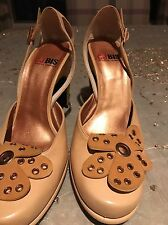 Charles Jourdan Camel Shoes With Studded Flower Sz7