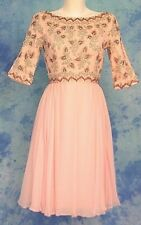 MiD CENTURY 60s VtG PiNK CHiFFON RHiNESTONE CRYSTAL BEADED COCKTAiL FORMAL DRESS