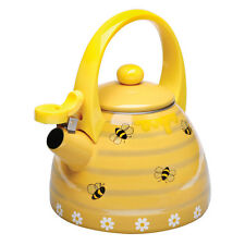 Honey Bees Whistling Stainless Steel Yellow Tea Kettle