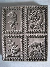 Antique 19thC SPRINGERLE Metal Pewter Wood Cookie Candy Butter MOLD Press Flower