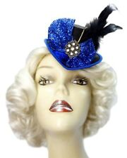 Royal Blue Mini Top Hat Jeweled Fascinator Victorian Steampunk Cocktail Cosplay