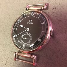 "Large (1.75"") OMEGA pocket-watch conversion 1940s black dial mechanical movement"