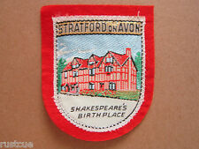 Stratford On Avon Shakespeare's Birth Place Woven Cloth Patch Badge