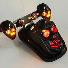Black Motorcycle Skull Integrated Brake Tail Turn Signal Light For Harley Bike