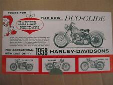 NEW NOS 1958 Harley Davidson Model Range Fold-Out Brochure Duo Glide Hummer MS2