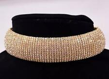STATEMENT LUXURY BRIDAL PROM VINTAGE GLAM FAUX CRYSTAL CHOKER NECKLACE GOLD