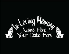 In Loving Memory of Custom Car Vinyl Decal Window Sticker with Praying Hands