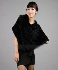 Winter Warm Real Farms Rabbit Fur Knitted Wrap Shawls Cape Poncho Scarf Black