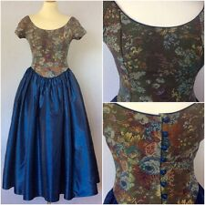 Laura Ashley Vintage Ladies Blue Tapestry Baroque Period BallGown Dress UK 12/14