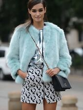 ZARA MINT BLUE  FAUX FUR JACKET COAT CAPE BLOGGERS SIZE S SMALL