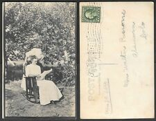Old Real Photo Postcard - Woman in Rocking Chair