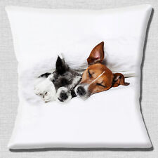 "NEW CUTE COUPLE JACK RUSSELL SMOOTH ROUGH COAT SLEEPING 16"" Pillow Cushion Cover"