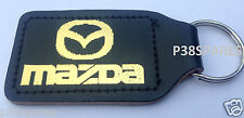 MAZDA 2 3 6  CX3 MX5 CX5 CX7 RX8 REAL BLACK LEATHER KEYRING FOB