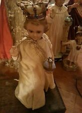 "12"" Antique Infant Prague Catholic Jesus Statue Jeweled Crown Chalkware Dolls"