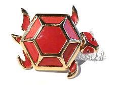 Bijou alliage doré broche créateur Oréna tortue émaillée brooch