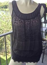 Blouse by Julienne W Large, Stretch Black Lace Netting Silk, Poly, Spandex EUC