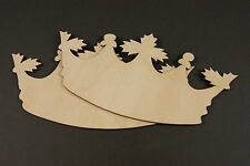 3x WOODEN KING/QUEEN CROWNS BOWLES CROWN SHAPES GIFT TAGS BLANK CRAFT DECORATION