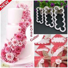 XMAS NEW 3D Rose Petal Flower Cutter Fondant Cake Sugarcraft Decorating Mould 3