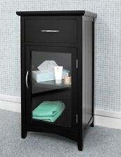 ASCOT black bathroom cabinet, Sturdy glass door bathroom storage unit, ASSEMBLED
