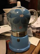 Stove top Espresso cuban coffee Maker pot,cappuccino Blue 4 Cup Cafetera Flower