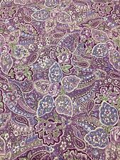Purple Paisley Print Cotton Fabric Quilt Sew OOP .75 YDS