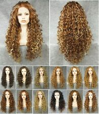 "26"" Front lace long wavy curly blonde brown ombre black synthetic wig for women"