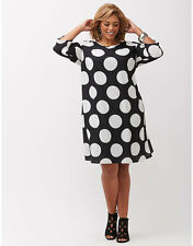 NEW LANE BRYANT PLUS SIZE BLACK & WHITE DOT PRINT SHIFT DRESS SZ 14/16