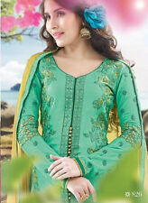 Designer Satin Cotton Salwar Kameez Green Color Unstiched Party Wear Material