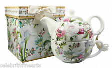 Floral Bouquet Fine China Tea For One Gift Boxed Set Teapot Cup Gift Set NEW