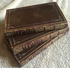 Works of Rev. George Crabbe 3 books 1823 poetry leather decorative w/plates