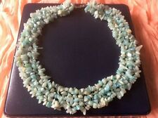 NEW Gemstone Chunky Amazonite Necklace Sterling Silver Clasp Presentation Box