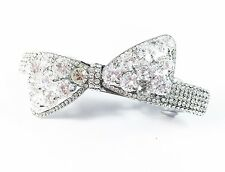 HAIR PIN Clip Crystal Swarovski Element Cubic Zirconia Bowknot Barrette Clear N2
