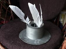 ANTIQUE PEWTER CAPSTAN SHIP ? INKWELL STAND HOLDS 5 QUILLS NO INK POT OR LID