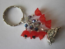 Keyring / Bag Charm - VW Beetle & Red Lucite Poppy Flowers