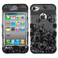 for iPhone 4 4S - Silver Black Lace Flower Dual Layer Hard&Soft Armor Skin Case